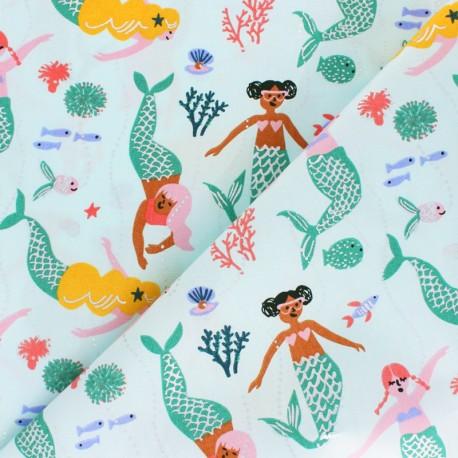 Tissu coton enduit Rico Design Sirène - bleu x 25cm