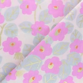 ♥ Coupon 30 cm X 140 cm ♥  Tissu Double Gaze de coton Rico Design Roses - rose