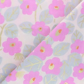 Rico Design double Gauze cotton fabric - Pink Roses x 10cm