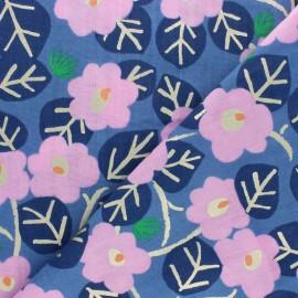 ♥ Coupon 10 cm X 140 cm ♥  Tissu Double Gaze de coton Rico Design Roses - bleu
