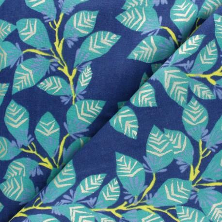 Rico Design double Gauze cotton fabric - blue Leaves x 10cm