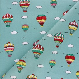 Cotton Poplin fabric - Green Air balloon Travel x 10cm