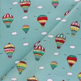 Tissu Popeline Voyage en ballon - vert x 10cm