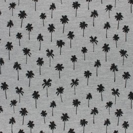 Special Polo cotton fabric - grey Palm tree x 10cm