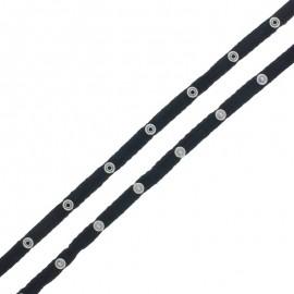Ruban Coton Bouton Pression - Noir x 1m