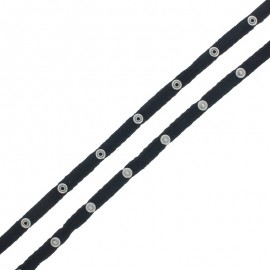 Snap Fastener Cotton Ribbon - Black x 1m