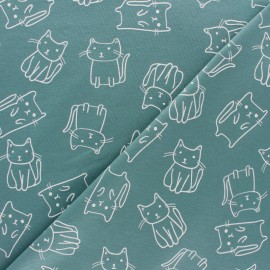 Jersey fabric - Blue Kidding Kitten x 10cm