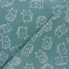 Tissu jersey Chat-pitre - bleu x 10cm