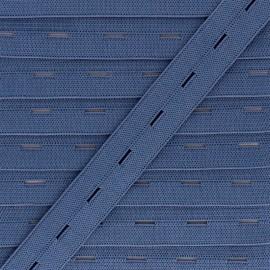 20 mm Elastic Buttonhole - Slate x 1m