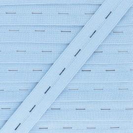 Elastique Boutonnière 20 mm - Bleu Ciel x 1m