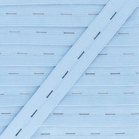 20 mm Elastic Buttonhole - Sky Blue x 1m