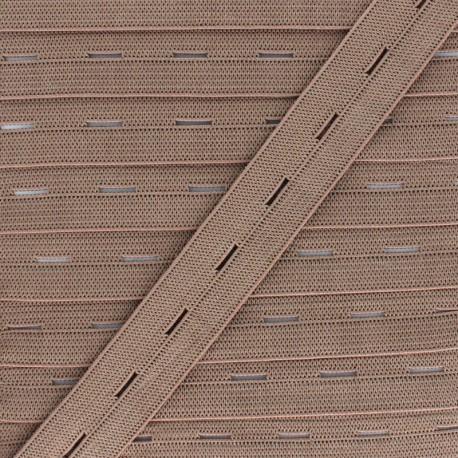 20 mm Elastic Buttonhole - Latte x 1m