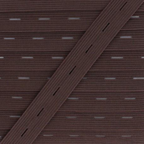 Elastique Boutonnière 20 mm - Chocolat x 1m