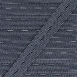 20 mm Elastic Buttonhole - Dark Grey x 1m