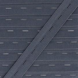 Elastique Boutonnière 20 mm - Gris Anthracite x 1m