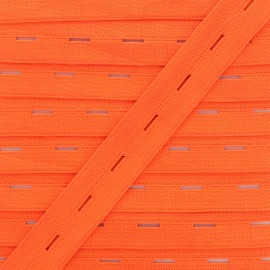 20 mm Elastic Buttonhole - Neon Orange x 1m