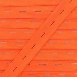 Elastique Boutonnière 20 mm - Orange Fluo x 1m