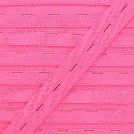 20 mm Elastic Buttonhole - Neon Pink x 1m