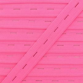 Elastique Boutonnière 20 mm - Rose Fluo x 1m