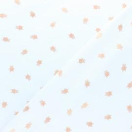 Tissu Popeline Scarabée cuivré - blanc x 10cm