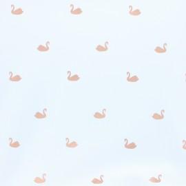 Tissu jersey Cygne cuivré - blanc x 10cm