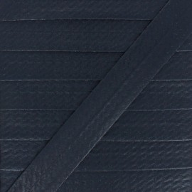 20 mm Metallic Faux Leather Bias Binding - Black Rock Me x 1m