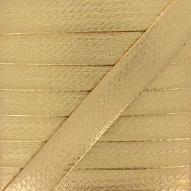 20 mm Metallic Faux Leather Bias Binding - Gold Rock Me x 1m