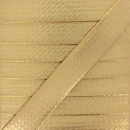 20 mm Metallic Faux Leather Bias Binding - Gold Rock Me x 1m