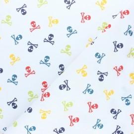 Tissu Popeline Mini-Coccinelle - Blanc x 10cm