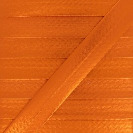 20 mm Metallic Faux Leather Bias Binding - Orange Rock Me x 1m