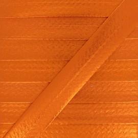 20 mm Metallic Faux Leather Bias Binding - Orange Rock Me x 1m