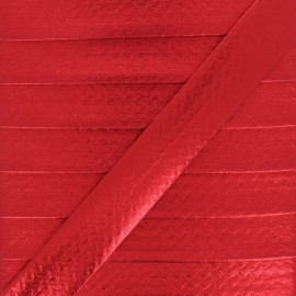 20 mm Metallic Faux Leather Bias Binding - Red Rock Me x 1m