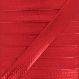 20 mm Metallic Faux Leather Bias Binding - Red Rock Me x 1m