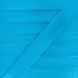 20 mm Metallic Faux Leather Bias Binding - Blue Rock Me x 1m