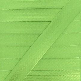 20 mm Metallic Faux Leather Bias Binding - Anise Green Rock Me x 1m