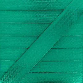 20 mm Metallic Faux Leather Bias Binding - Emerald Green Rock Me x 1m