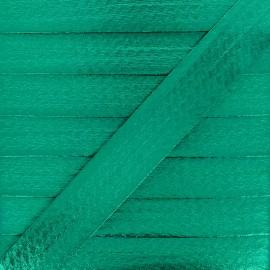 20 mm Metallic Faux Leather Bias Binding - Emerald Green Rock Me x 1m