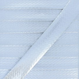 20 mm Metallic Faux Leather Bias Binding - Silver Rock Me x 1m