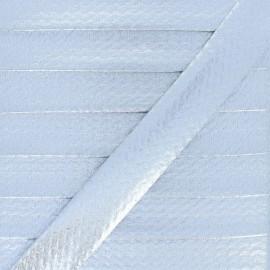 20 mm Metallic Faux Leather Bias Binding - Silver Rock Me x 1m