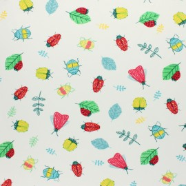 Cotton Jersey fabric - white Summer fruit x 10cm