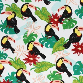 Cotton Jersey fabric - white Toucan x 10cm