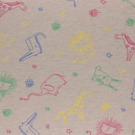 Cotton Jersey fabric - Beige Kid drawing x 10cm