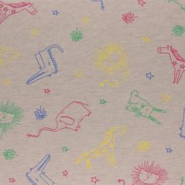 Tissu jersey Kid drawing - beige x 10cm