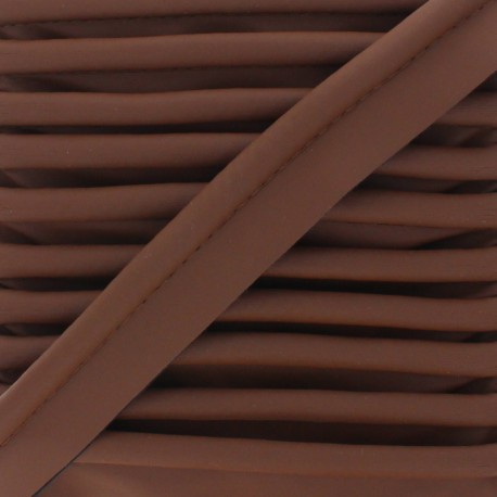 XL Smooth Faux Leather Piping - Brown x 1m