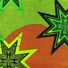 Tissu Wax Alanta - vert/orange x 10cm