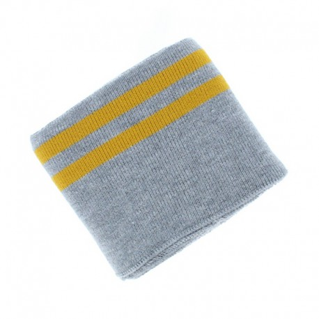 Poppy Edging Fabric (135x7cm) - Grey/Mustard Double Stripe