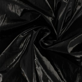 Crinkle vinyl fabric - black Shiny x 10cm