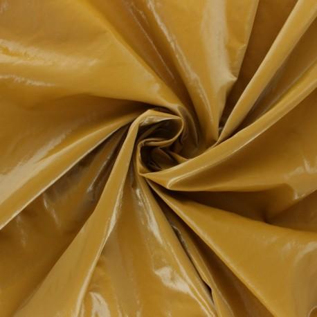Faux leather Vinyl coated viscose - black Shiny x 10cm