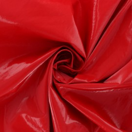 Crinkle vinyl fabric  - red Shiny x 10cm