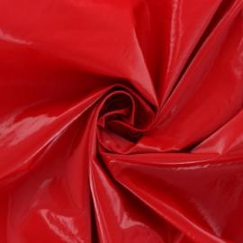 Tissu vinyl froissé brillant - Rouge x 10cm